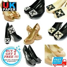 Boda nupcial Decorativo Zapato Clips Bows par Diamante Diamantes De Imitación Perla Vintage