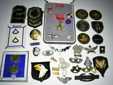 Estate Lot Vtg U.S. Army Pins Bronze Star Medals Patches Special Forces Airborne