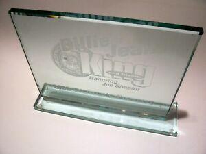"BILLY JEAN KING & Friends Engraved Beveled Glass Plaque 8"" x 10"" Event Souvenir"