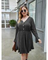 Women's Sexy V Neck Dress Lady Long Sleeve Knit High Waist Dress Plus Size