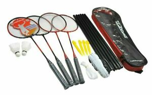 Badminton Set for 4 Player Racket Shuttlecock Poles Net Bag Family fun activity