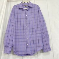 Peter Millar Mens L Shirt Summer Comfort Purple Blue White Plaid Button #SS