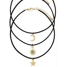 Moda Joyería Gargantilla Collar De Cuero Estrella Luna Sol Set 1set = 3 piezas para Wom