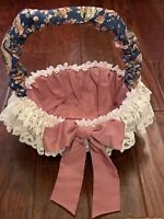 """Fabric Covered Basket w/Handle Blue Floral Mauve Pink w Cream Lace Trim 13"""" Tall"""