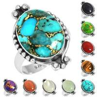 925 Sterling Silver Gemstone Ring Handmade Jewelry Size 5 6 7 8 9 10 11 12 jv507
