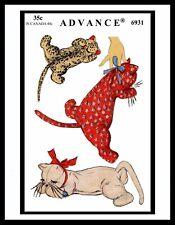 Advance 6931 Stuffed Animal Pattern Sleeping KITTY CAT TOY GIRL BOY Child KIDS