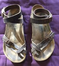 Birkenstock Yara Habana Brown leather Wrap ankle strap/toe loop sandals EU38-US7