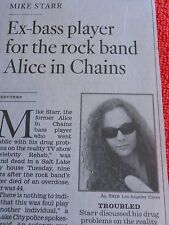 1966-2013 MIKE STARR OBITUARY EX-BASS PLAYER FOR ROCK BAND ALICE IN CHAINS