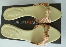 Bruno Magli Alex Orange Slides Cream Beige Heels Shoes 6.5 NIB 6 1/2