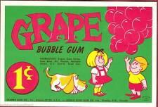 Vintage Grape Cramer Gum Ball Machine Vending Display Card 1960s NOS New