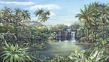 Tropical Paradise Wall Mural Island Waterfall Palm Trees Prepasted Wallpaper