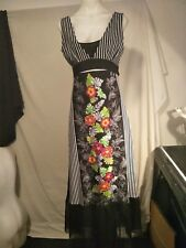 Posha Ladies Stretch Dress in Black and White Stripe and Floral Print Size 10