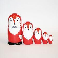 "Nesting dolls Fox family Signed Hand-painted russian matryoshka 7""/18cm modern"