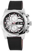 Pierrini Herrenuhr Silber Schwarz Analog Datum Chronograph Leder X291122500002