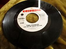 TINA CHARLES 45 RADIO PROMO YOU SET MY HEART ON FIRE VG+ COLUMBIA 10202