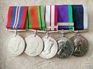 ROYAL MARINES REPLICA GROUP OF 5 WAR MEDALS MOUNTED FOR WEAR SUPERB GROUP