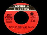 Vintage Record, ANDY WILLIAMS: DAYS OF WINE & ROSES & MOON RIVER, 45 rpm, Pop