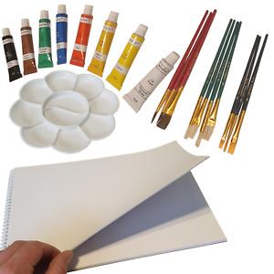 Oil Paint Artist Starter Set 8 x 6ml Tubes & 10 Brushes & Paper Pad & Palette