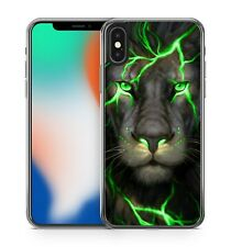 Elegant Green Eyed Green Lightning Covered Majestic Lion Animal Phone Case Cover