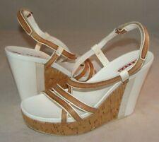 PRADA Wedge Cork Sandals Leather Platform Heels Sz 37 EU 7 US Italy