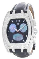 Aqua Master Men's Black Dial Steel Case Black Leather Band Diamond Watch W#35