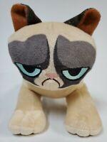 "Toy Factory Grumpy Cat 8"" Plush Stuffed Toy Tan With Gray Eyelids Blue Eyes"