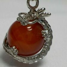 CHINESE DRAGON NECKLACE PENDANT WITH CRYSTAL BALL