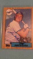 1987 Topps #457 Len Matuszek AUTO Autographed Signed Los Angeles Dodgers