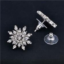 Fashion Women 925 Silver plated Snowflake Crystal Rhinestone Earrings Jewelry