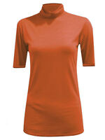 LADIES SHORT SLEEVE STRETCH POLO ROLL NECK TOP JERSEY STYLE 8 - 18 BLACK GREY