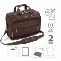 "15.6"" Laptop Leather iPad Briefcase Shoulder Business Bag Brown FI6704"