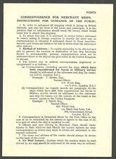 Correspondence For Merchant Ships Public Guidance Leaflet 1941 P2297X Rates