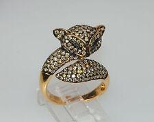 18k YELLOW GOLD 2c CHAMPAGNE BROWN DIAMOND ANIMAL DOG FOX RING LAYAWAY OPTION