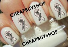 LUNG CANCER AWARENESS》WHITE PEARL RIBBON LOGO》Tattoo Nail Art Decals