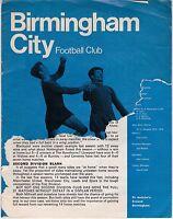 BIRMINGHAM CITY V MILLWALL  DIVISION TWO 19/10/68