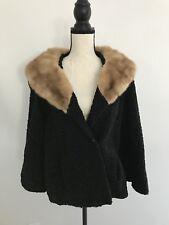 Vintage Black Rhombergs Famous For Furs Lamb Mink? Fur Coat ~Sz L