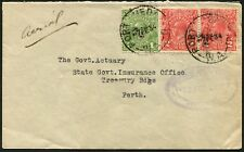 Feb.1934 usage of KGV 2d Reds (2) + 1d Green on commercial airmail cover