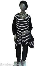 Camisa manga larga bigshirt túnica vestido negro a rayas talla 46/48 Lagenlook