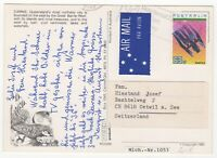 1988. Air Mail. Picture Postcard. Cairns, QLD to Oetwil am See, Switzerland.