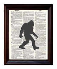 Sasquatch Silhouette - Dictionary Art Print Printed On Authentic Vintage