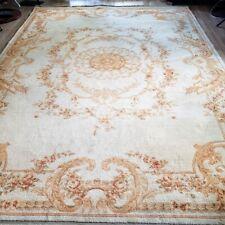 8' x 10'  Antique Aubusson Handmade Wool Rug Golden Elegance Fringed Flat Woven