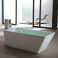 Elegant Free Standing Solid Surface Stone Resin Glossy Bathtub 67 X 29 Inch   SW 134