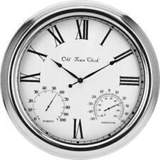 Clock Metal Outdoor Indoor Large Humidity Temperature Wall Silver Roman Numeral