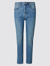 M&S Collection Button Fly Midrise blue straight leg patch pocket jean uk size 18