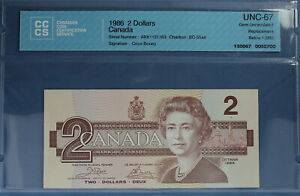 1986 - Canada - $ 2 - BC-55aA  - Crow-Bouey - CCCS UNC-67 (Gem) Replacement