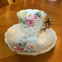 Vtg Hand Painted Demitasse Cup & Saucer Chocolate Expresso Cup Occupied Japan
