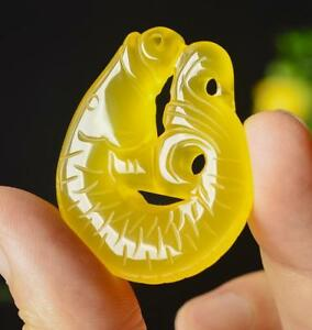 Natural yellow jade chalcedony agate fish pendant double sided carving jade