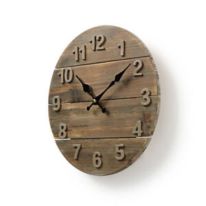 Nedis Wooden Rustic Distressed Wall Clock 30cm Diameter Shabby Chic Kitchen