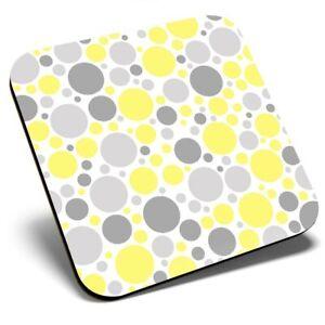 Square Single Coaster  - Yellow Grey Large Dots Pattern Print  #46501