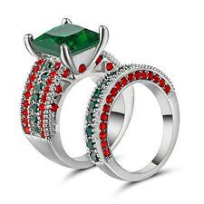 Princess Cut Green Emerald Wedding Band Rings Set 10KT White Gold Filled Size 6